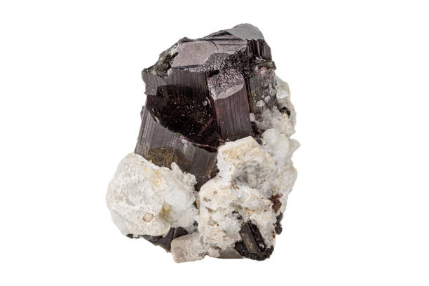 Cтоковое фото Macro tourmaline mineral stone on white background