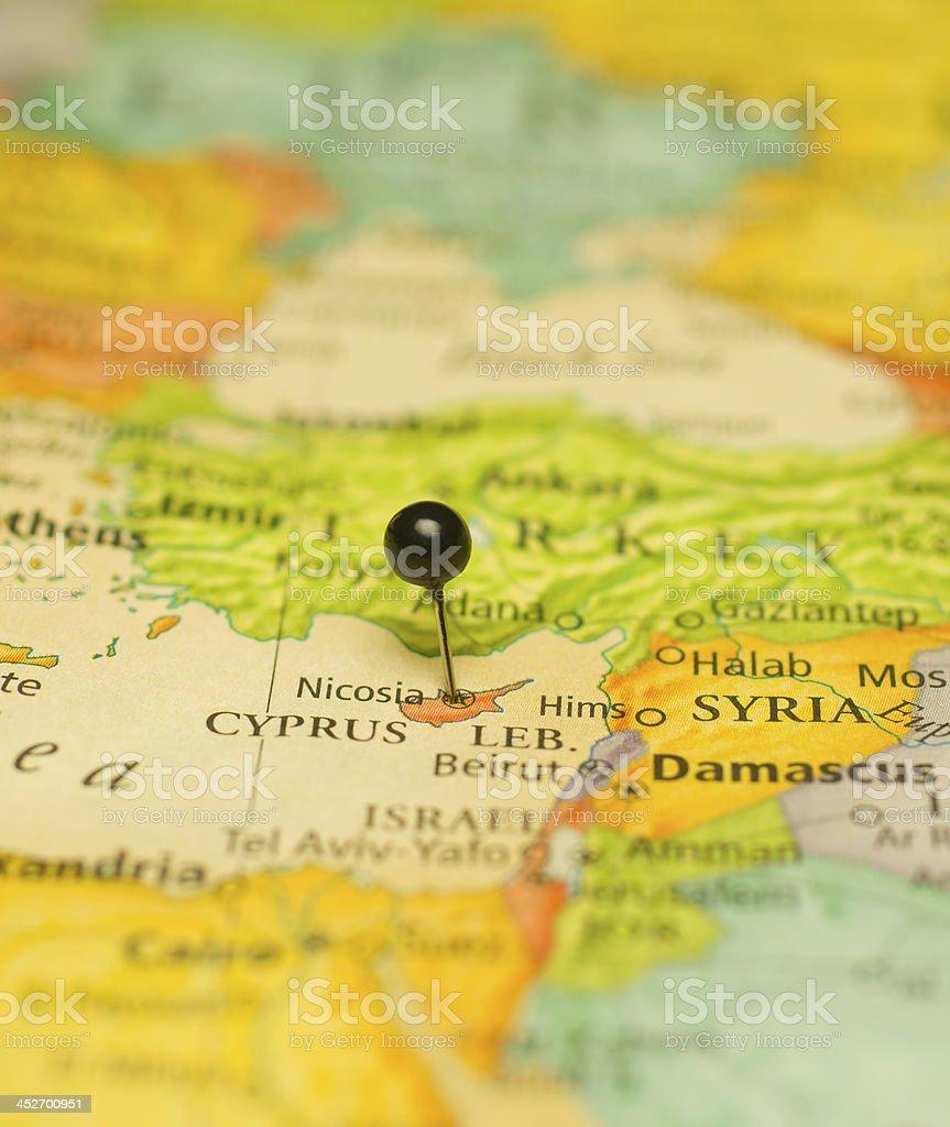 Macro Travel Map Of Nicosia Cyprus And Damascus Syria Stock Photo ...