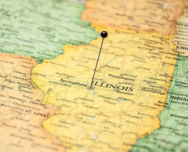 detalle mapa de viajes de springfield, illinois - illinois fotografías e imágenes de stock