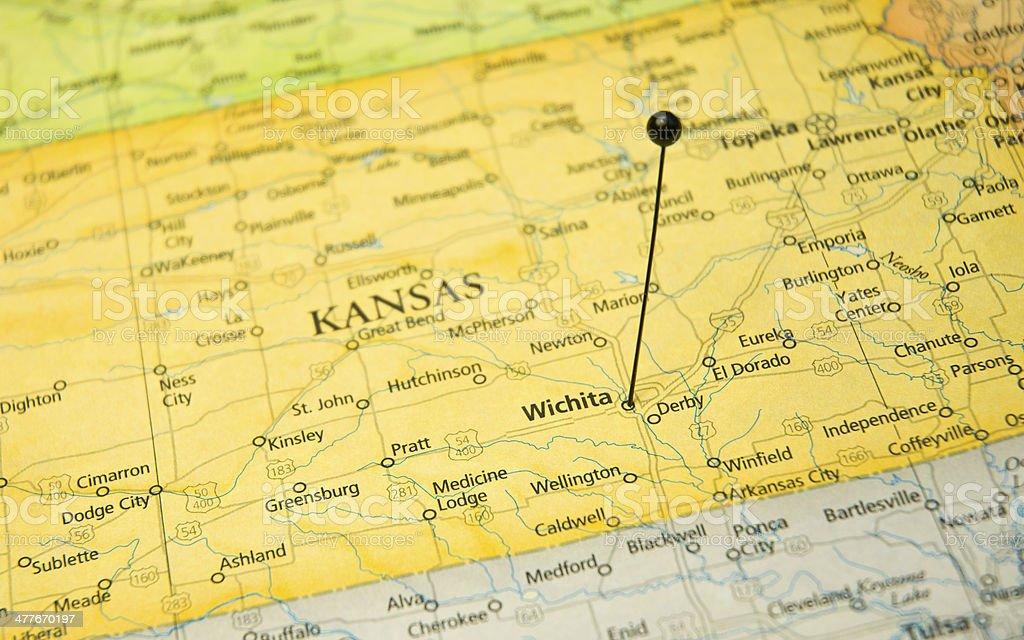 Macro Travel Map Of Wichita Kansas With Map Pin stock photo