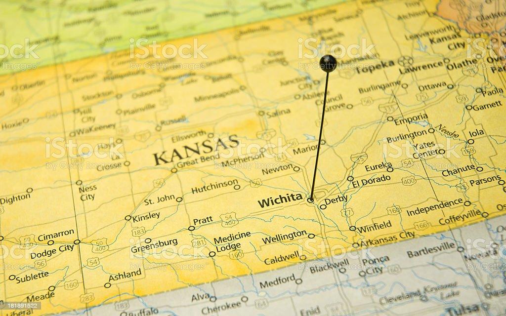 Macro Travel Map Of Wichita Kansas With Pin stock photo