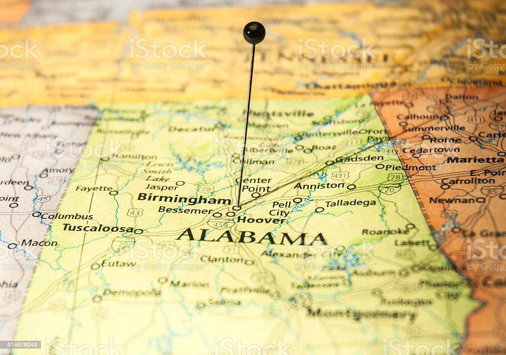 Macro Travel Road Map Of Birmingham Tuscaloosa Alabama stock photo