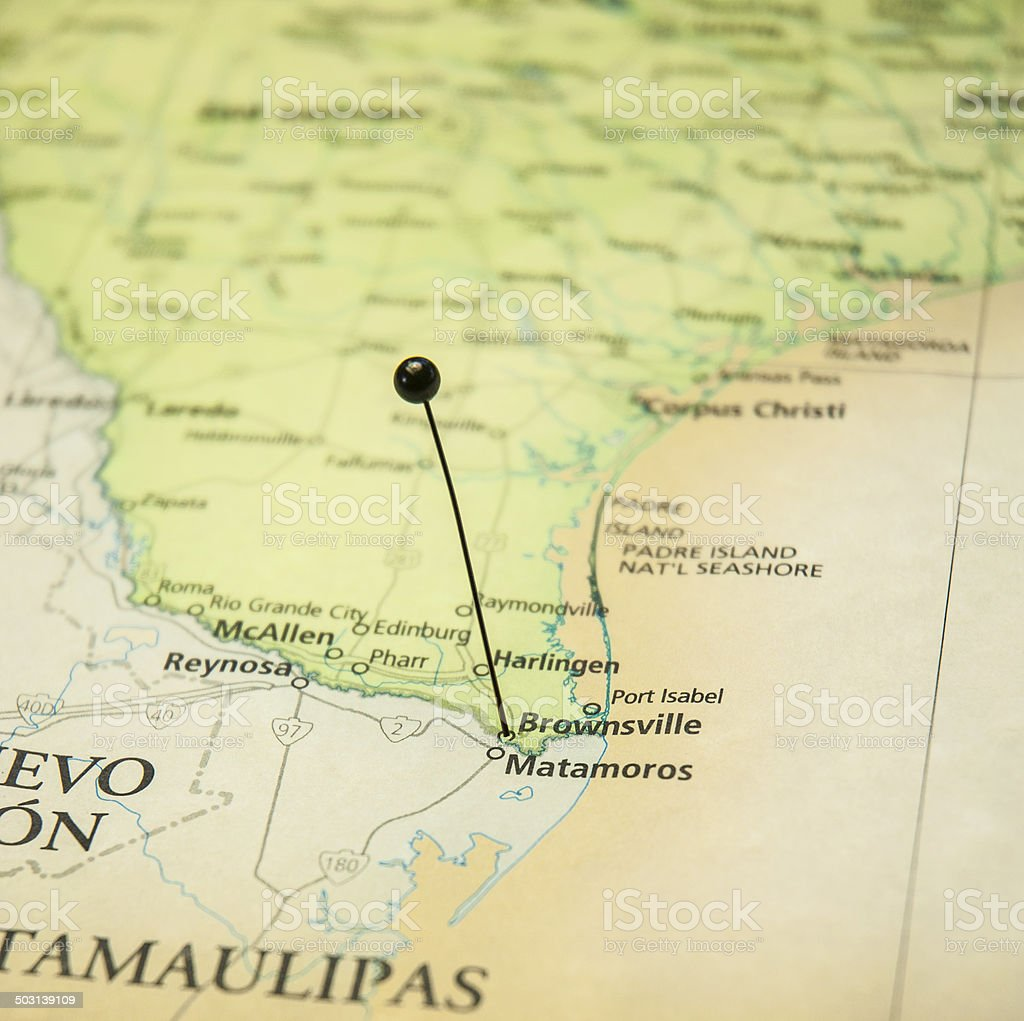 Macro Travel Road Map Of Brownsville Texas And Matamoros Mexico stock photo