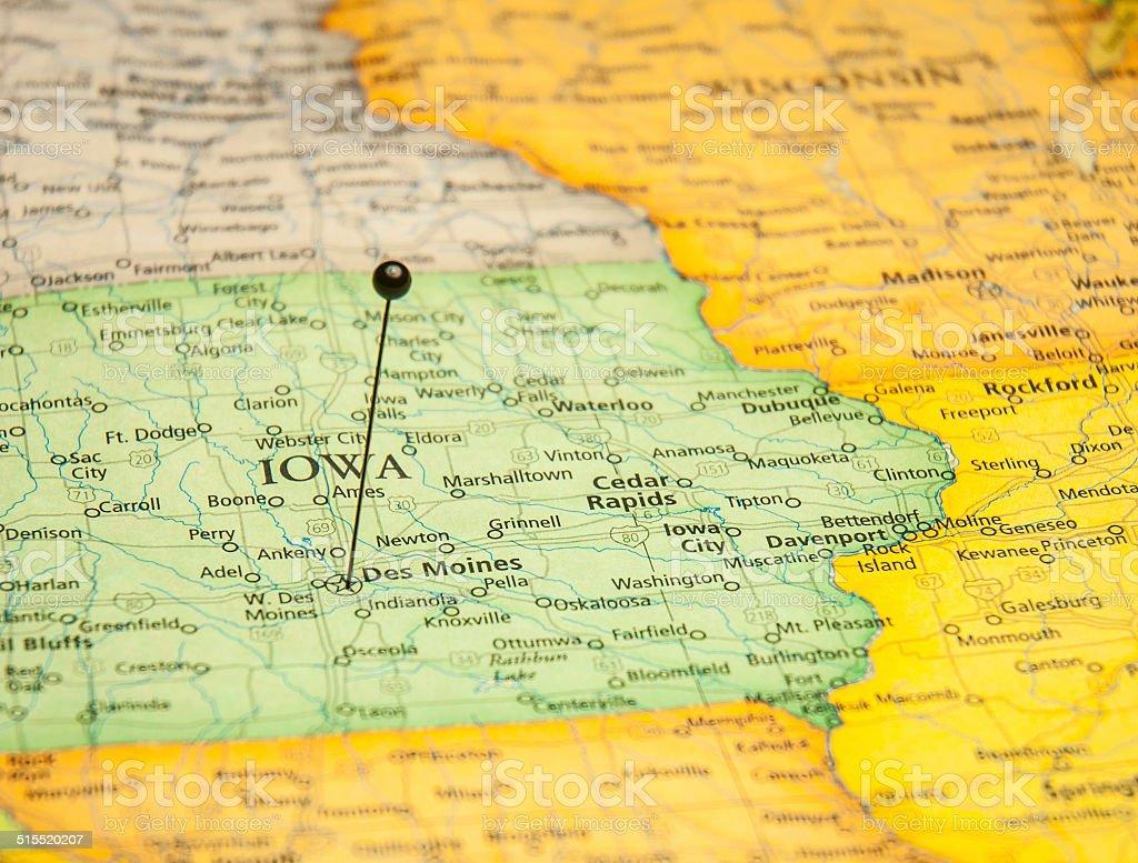 Macro Travel Road Map Of Des Moines Iowa Stock Photo ...