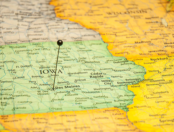 Macro Travel Road Map Of Des Moines Iowa Stock Photo & More Pictures ...