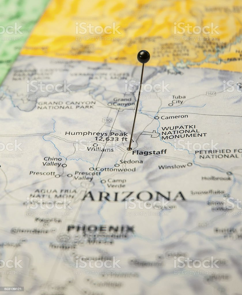 Map Of Flagstaff Arizona.Macro Travel Road Map Of Flagstaff Arizona With Map Pin Stock Photo