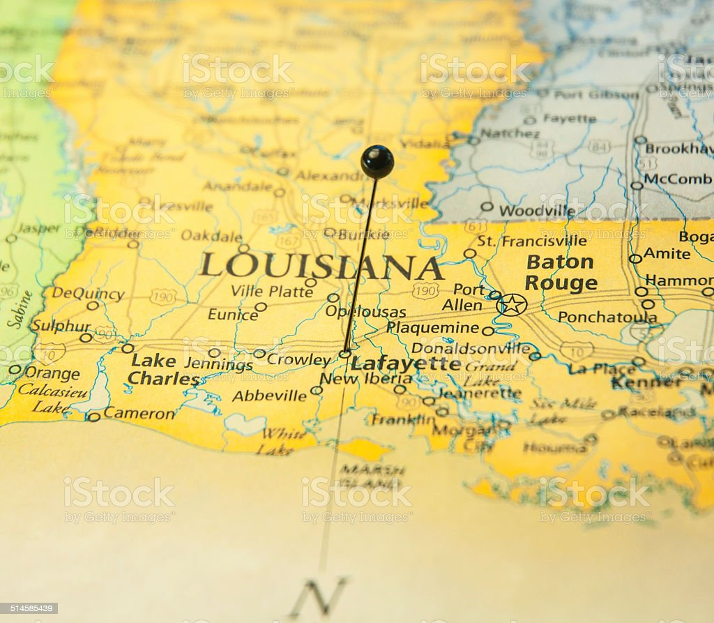 Macro Travel Road Map Of Lafayette Baton Rouge Louisiana stock photo