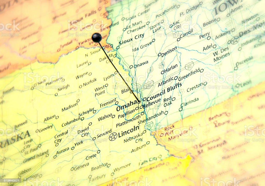 Macro Travel Road Map Of Omaha Nebraska stock photo