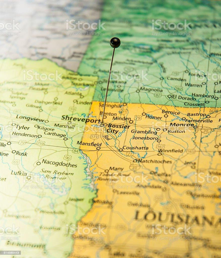 Macro Travel Road Map Of Shreveport Louisiana stock photo
