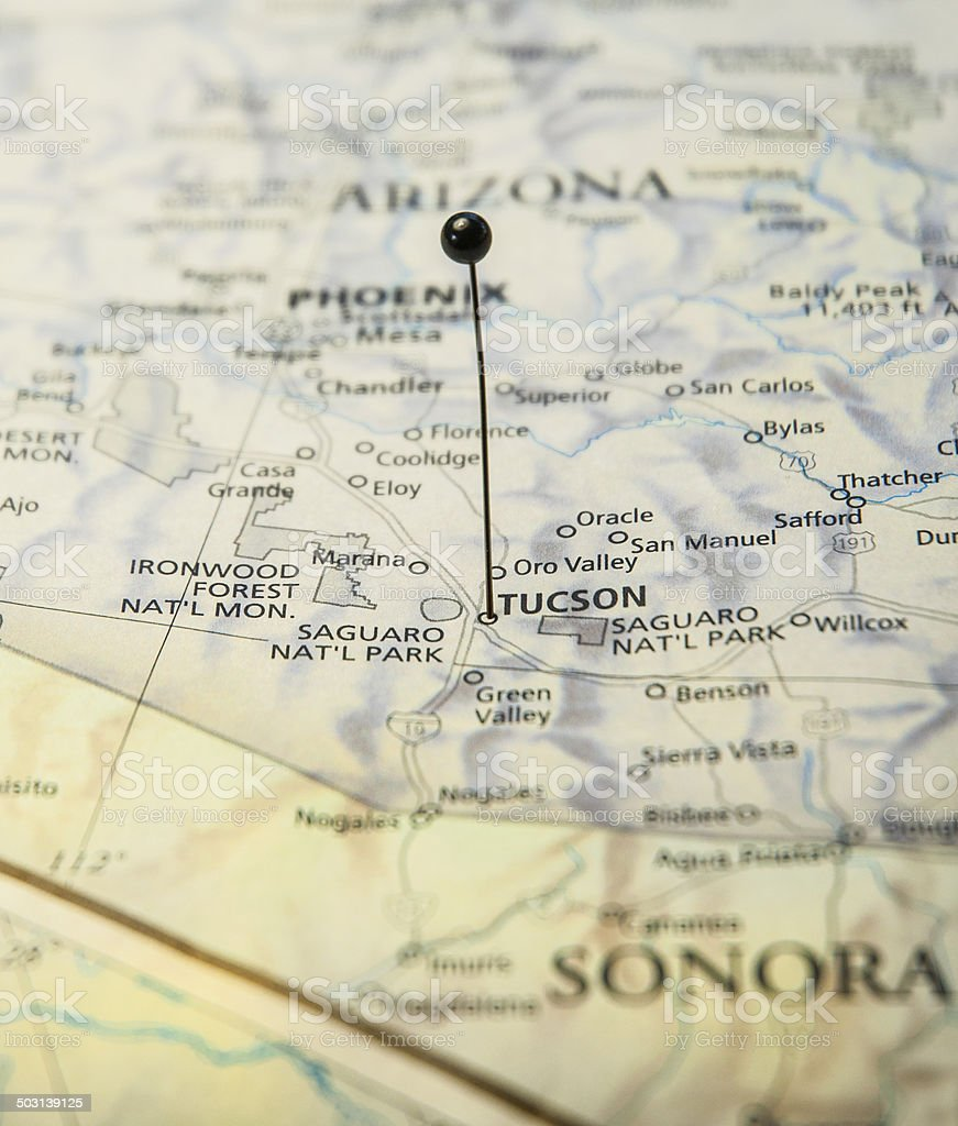 Macro Travel Road Map Of Tucson Arizona With Map Pin Stock Photo
