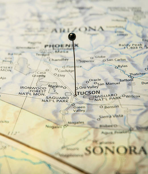 Macro Travel Road Map Of Tucson Arizona With Map Pin Macro Travel Road Map Of Tucson Arizona With Map Pin pima county stock pictures, royalty-free photos & images