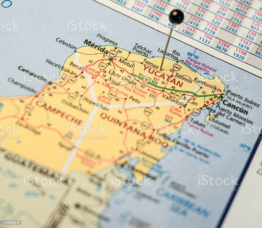 Macro Travel Road Map Of Yacatan And Cancun Mexico stock photo