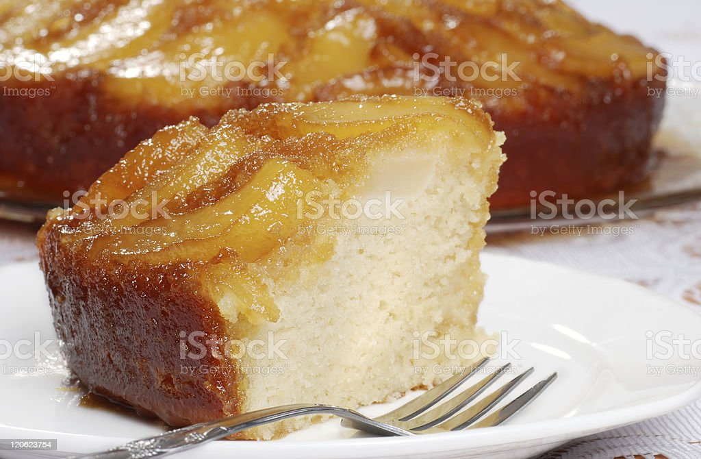 macro upside down pear cake stock photo