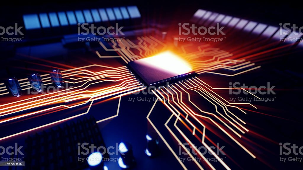 macro view central processor unit on mainboard stock photo