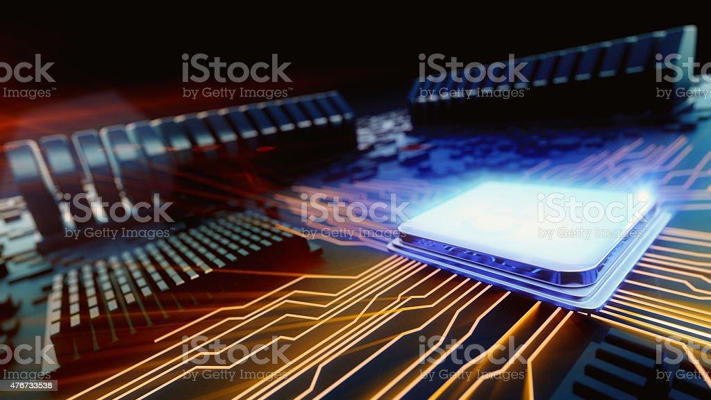 macro view central processor unit stock photo