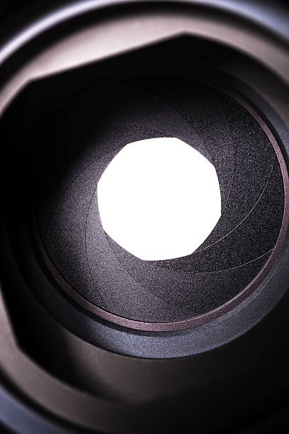 macro view of a lens - aperture stock pictures, royalty-free photos & images