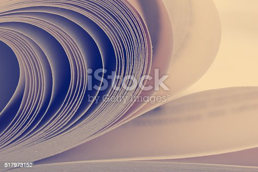 istock Macro view of book pages. Toned image. Copy space for 517973152