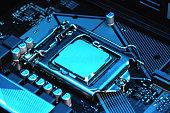 istock Macro view of CPU, socket, memory on motherboard 1257927418