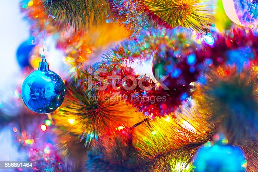 istock Macro view of decorated Christmas Tree 856851464