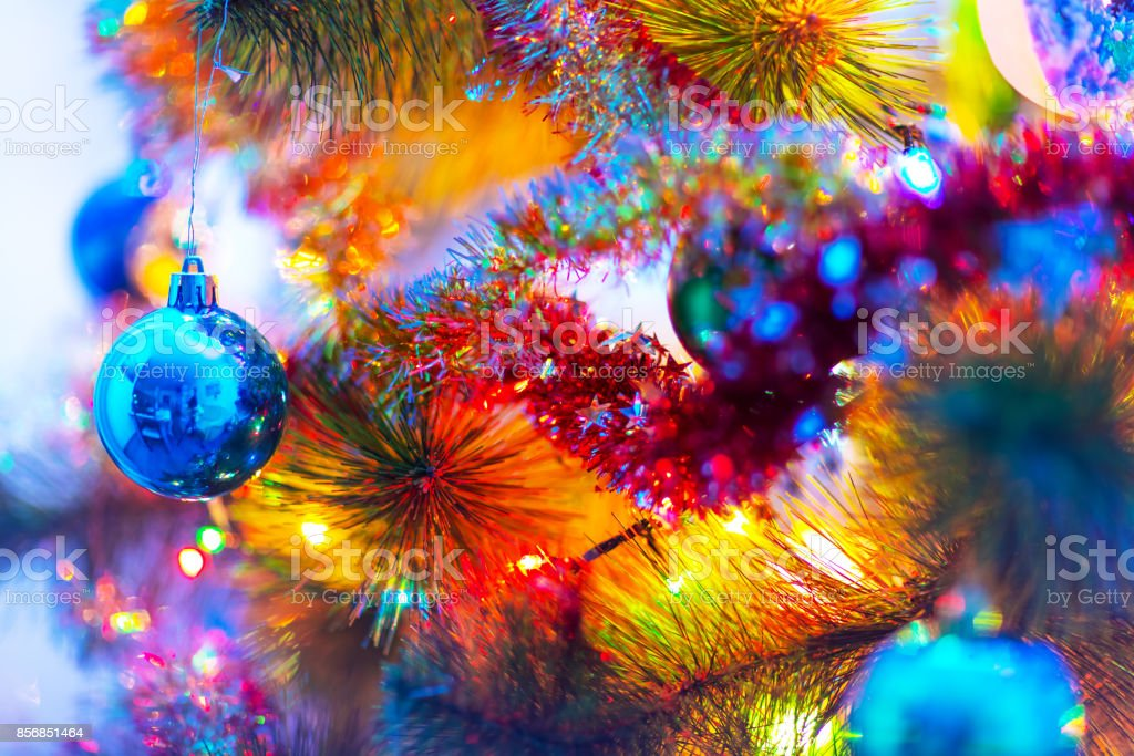 Makro-Ansicht der geschmückter Weihnachtsbaum – Foto