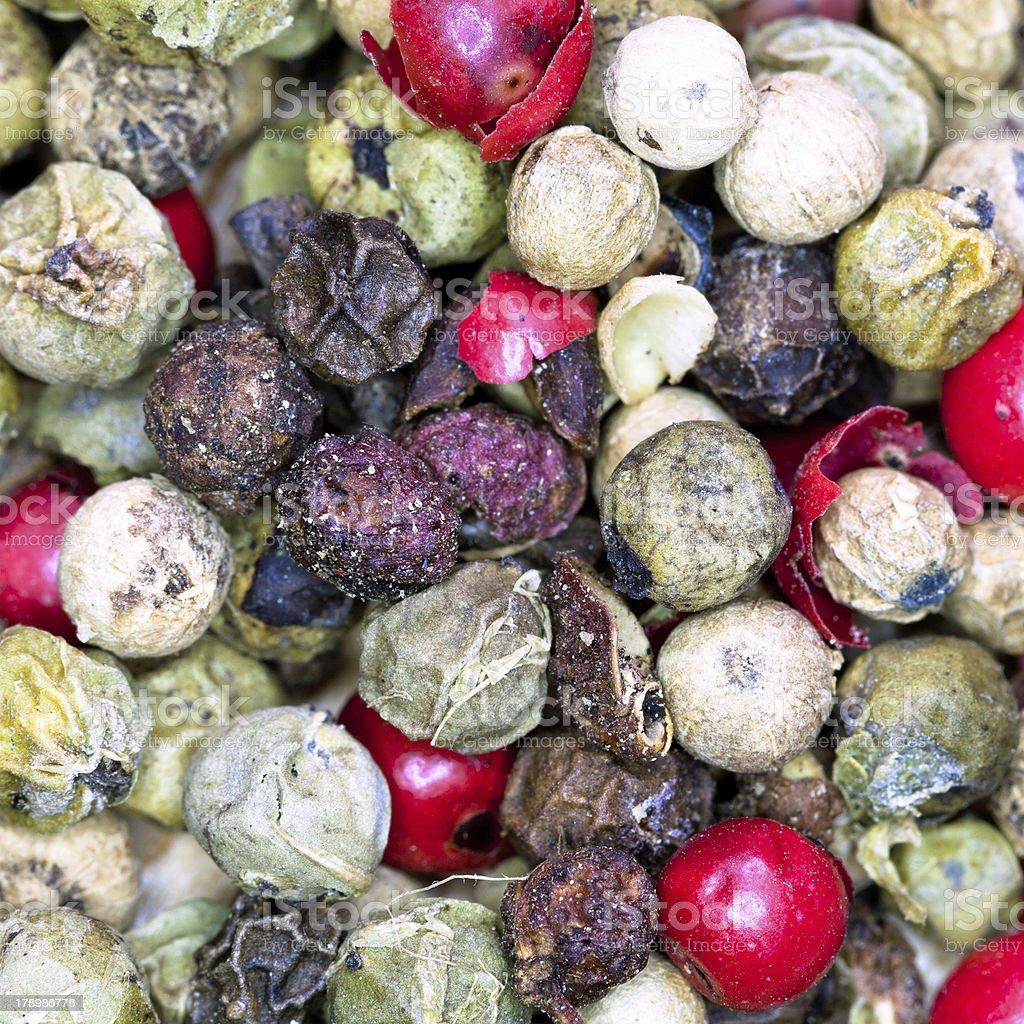 macro view of diferent peppercorns stock photo