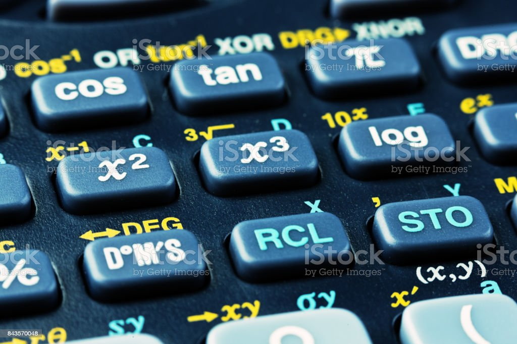 Macro view of keys on a scientific calculator stock photo