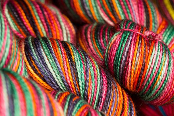 Macro View of several colorful Hanks of Yarn stock photo