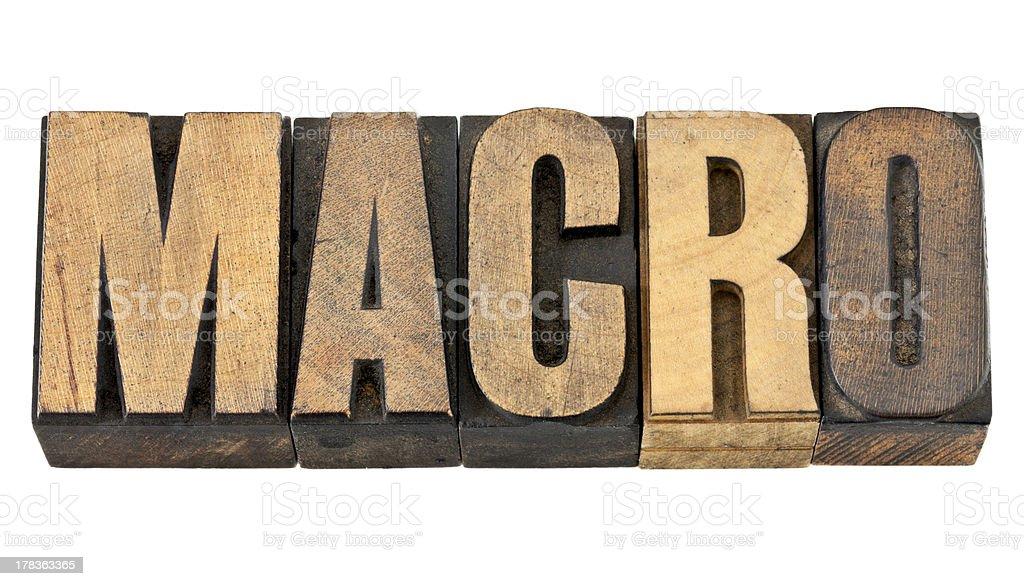 macro word in wood type royalty-free stock photo