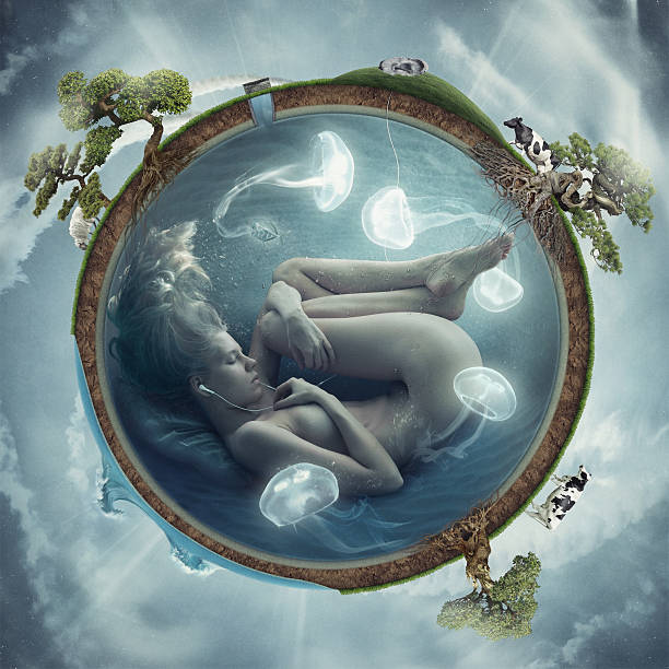 macrocosm - naked women with animals stock photos and pictures