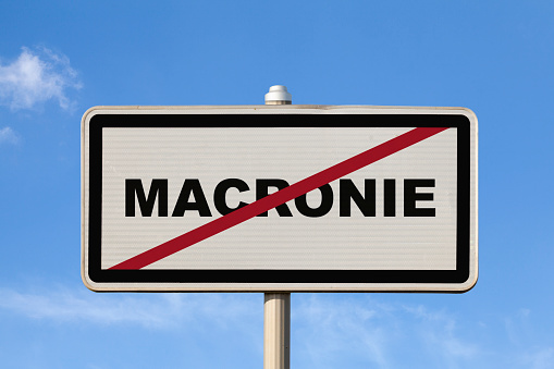 Macronie French Exit City Sign Stock Photo - Download Image Now