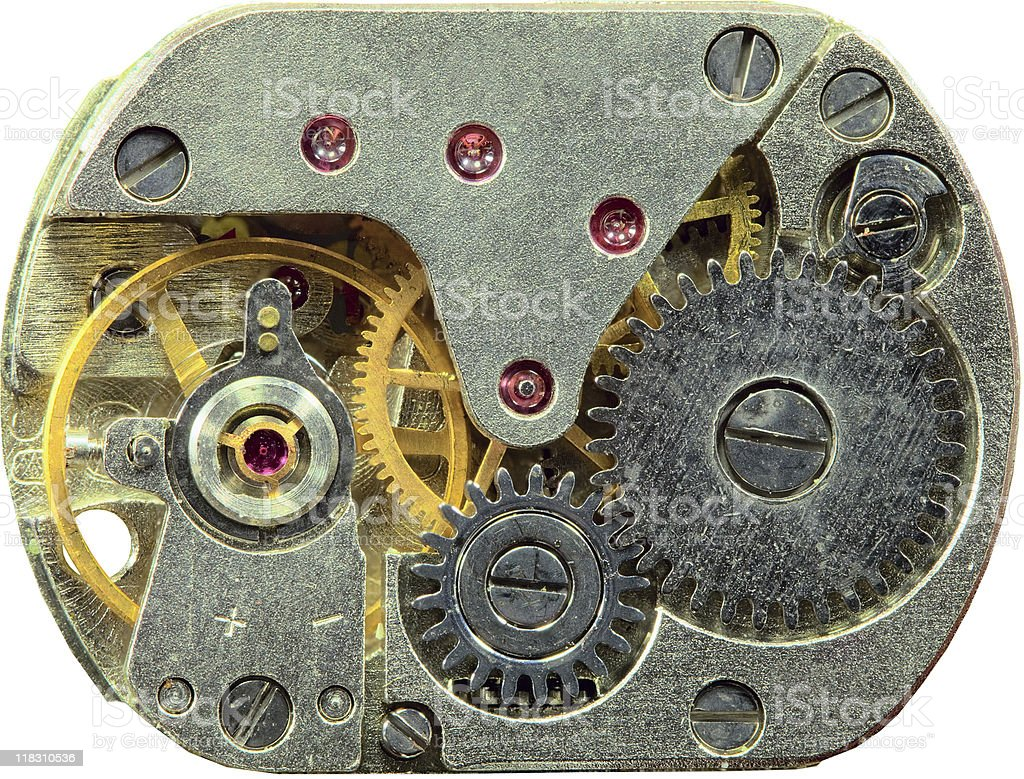 Macrophoto of old clockwork background royalty-free stock photo
