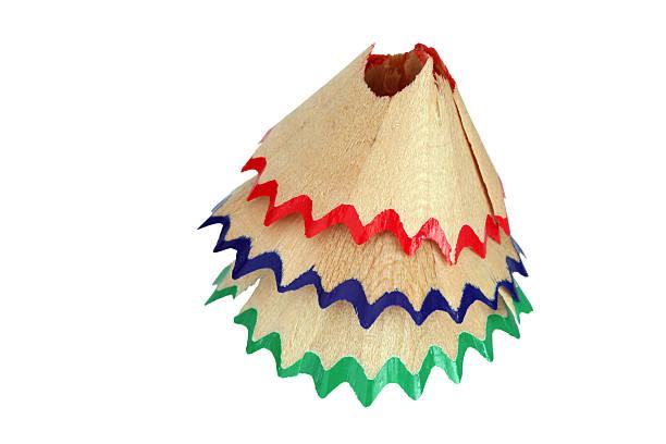макро-снимок с красной, синей и зеленой карандашная стружка на белом - rbg стоковые фото и изображения