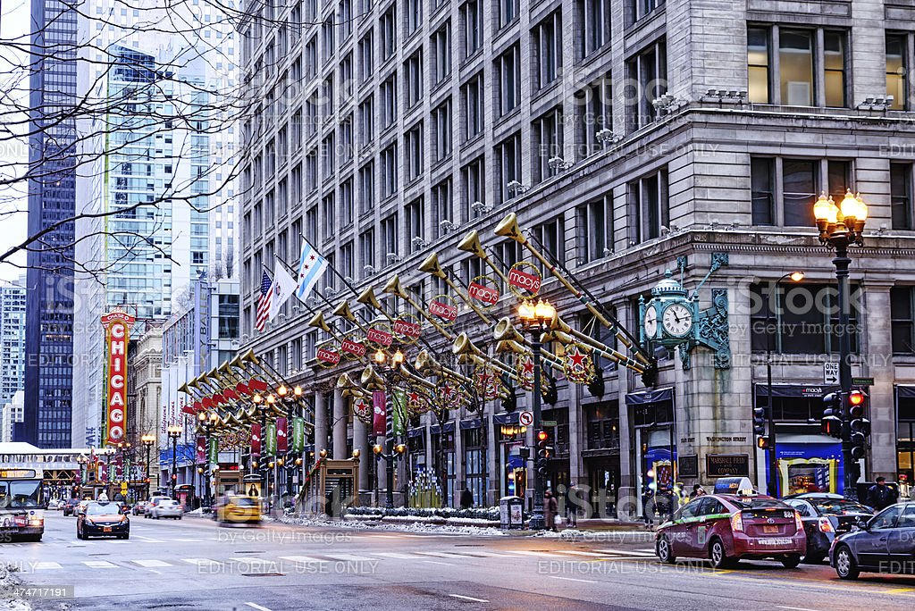 macys christmas decorations in chicago royalty free stock photo