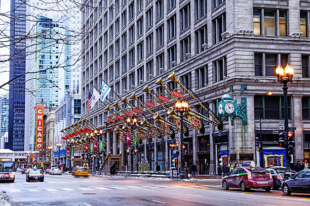 Macy's Christmas decorations in Chicago stock photo