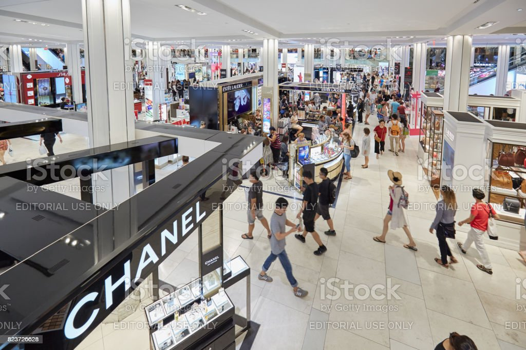 Macy's department store interior, cosmetics area with Chanel shop in New York stock photo