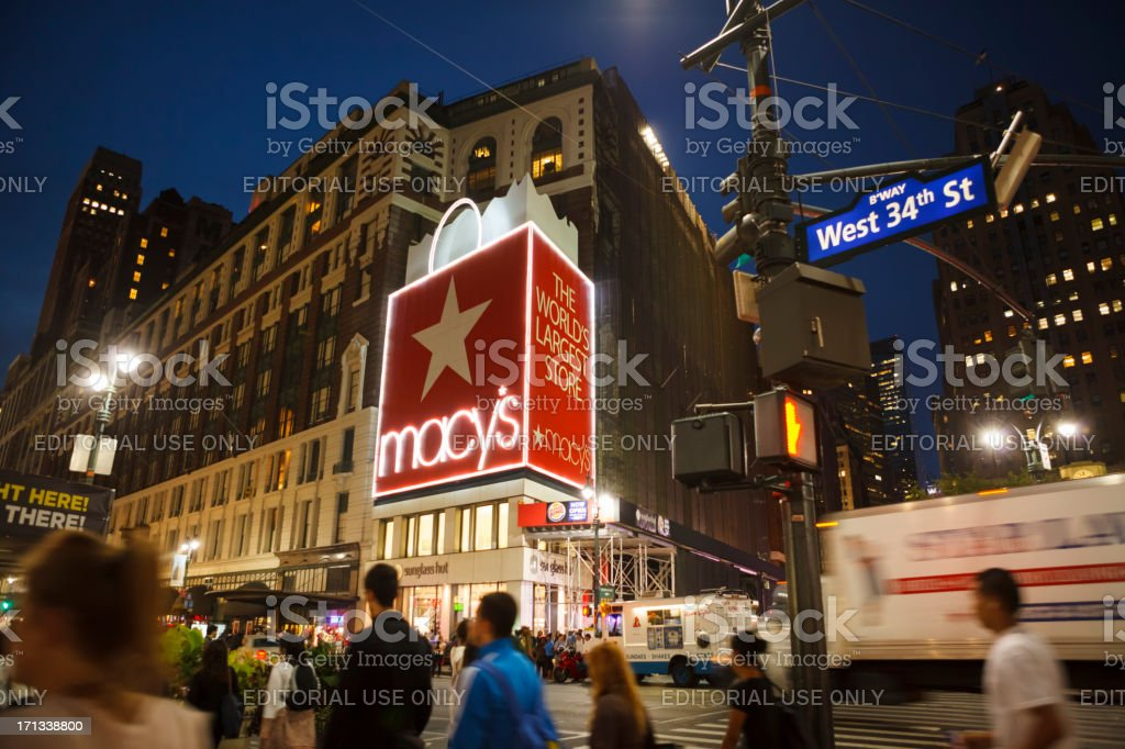 Macy's Herald Square Manhattan Evening stock photo