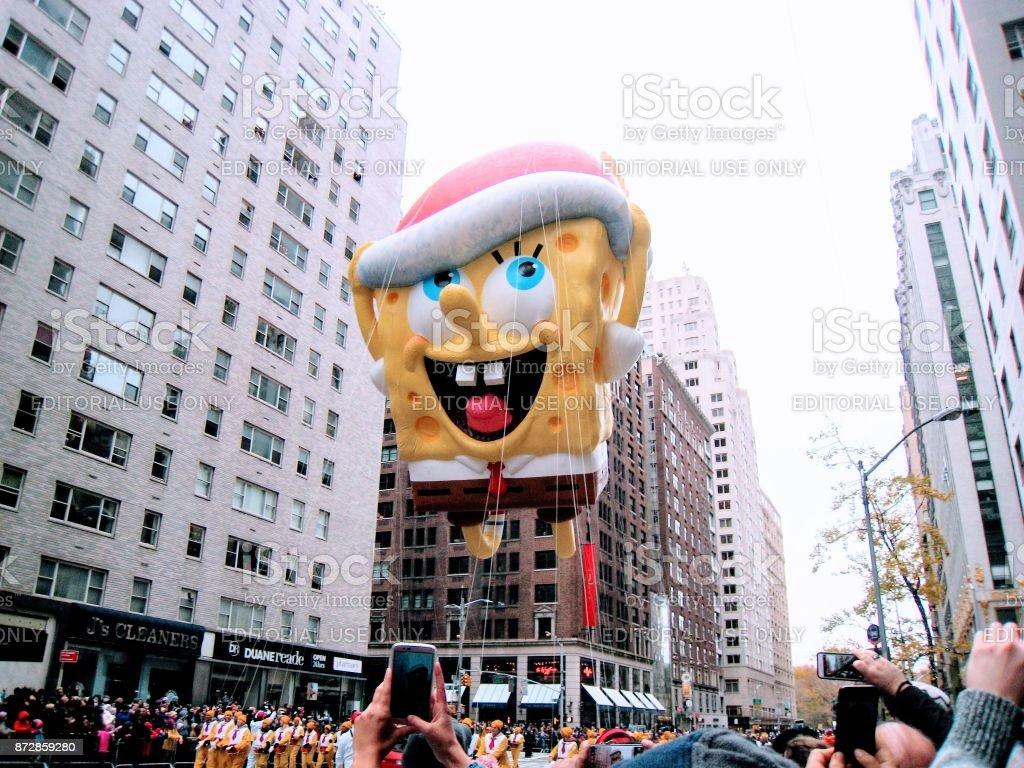 Macy desfile Nov de 2016 Spongebob Squarepants - foto de acervo