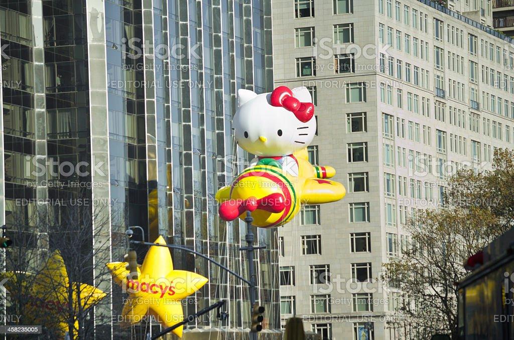 Macy's Thanksgiving Day Parade, Hello Kitty And Stars stock photo