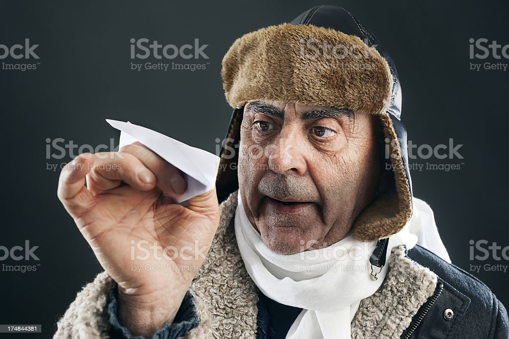 Mad aviator royalty-free stock photo