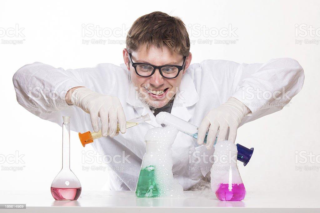 Mad chemist royalty-free stock photo