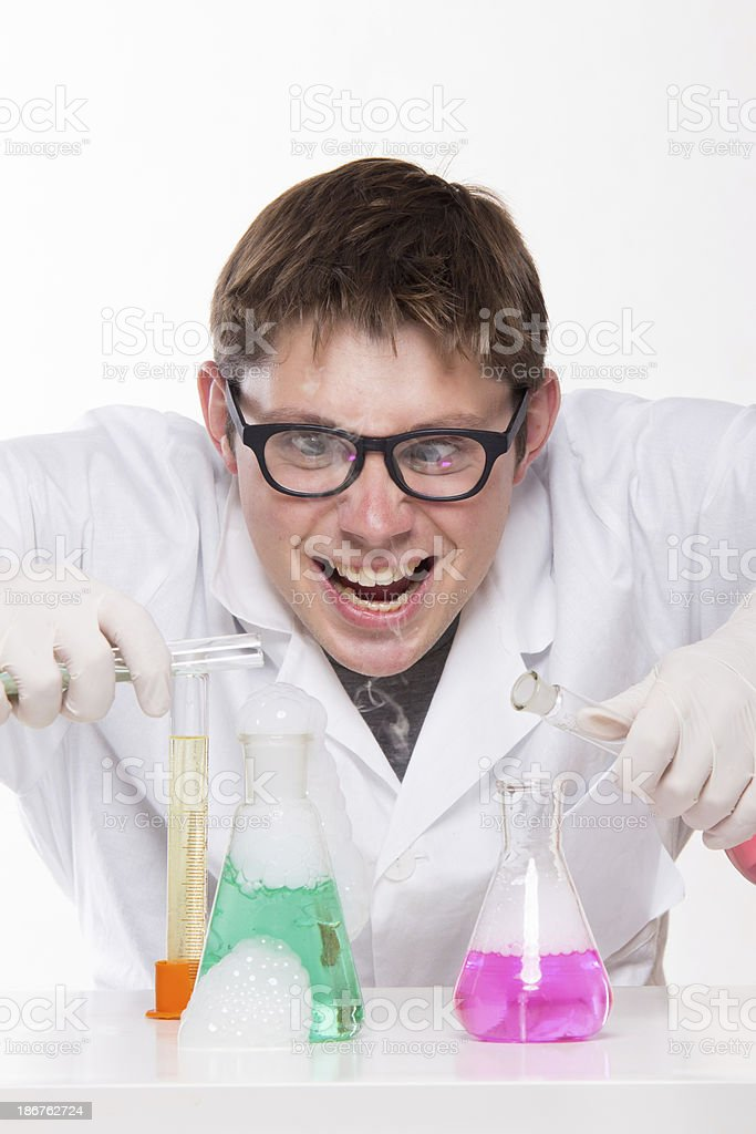 Mad chemist royalty-free stock photo