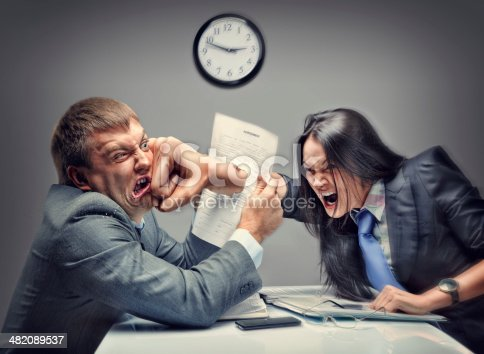 istock Mad fight of business people 482089537