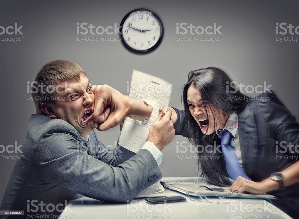 Mad fight of business people stock photo