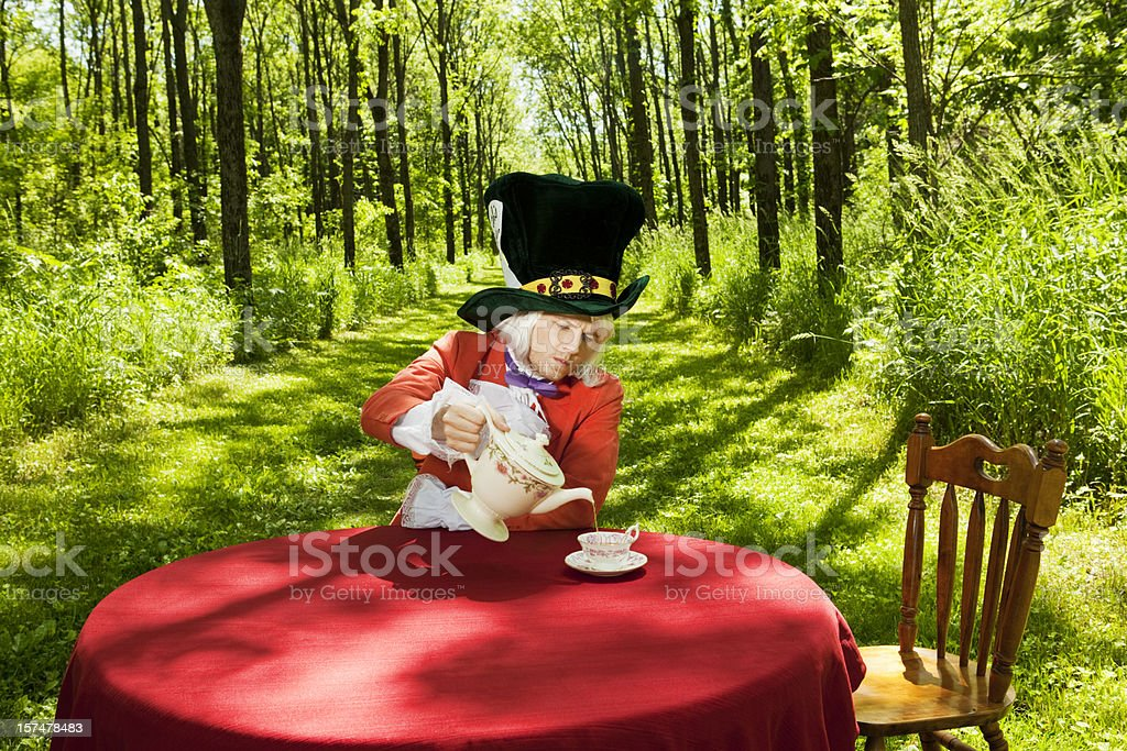Mad Hatter has a spot of Tea stock photo
