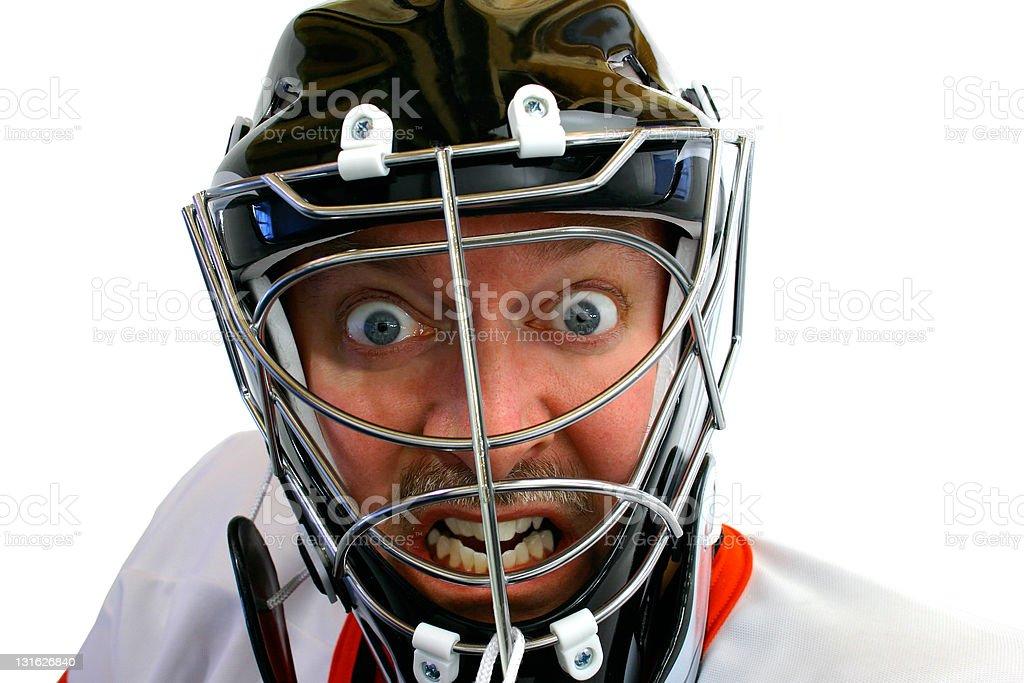 Mad Hockey Goalie stock photo
