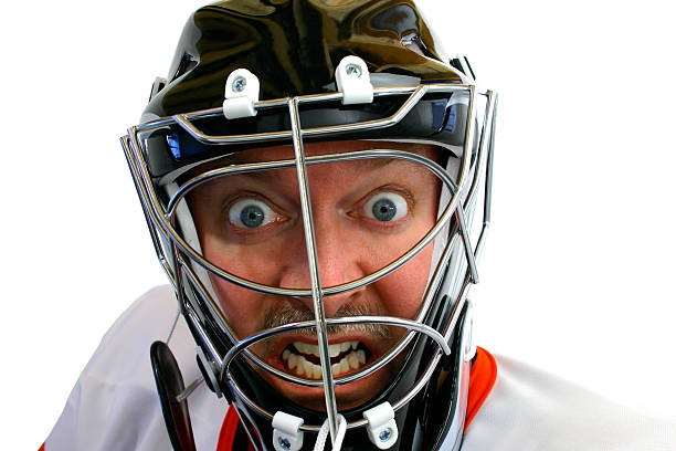 Mad Hockey Goalie stock photo