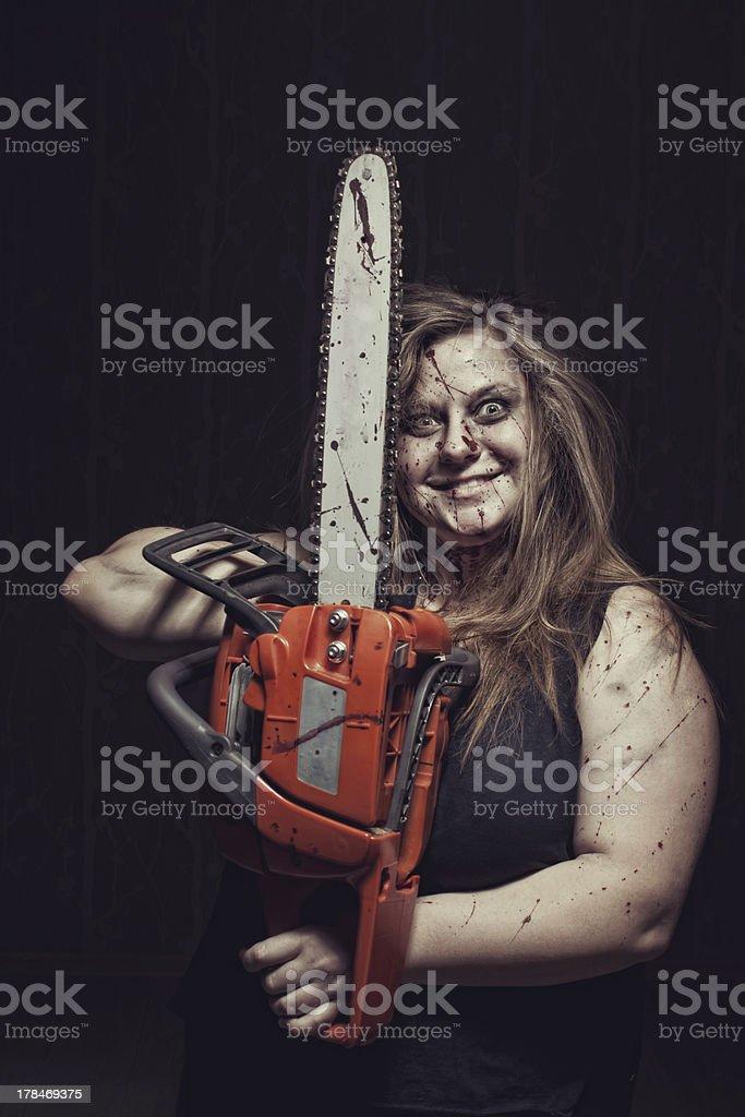 Mad maniac girl stock photo