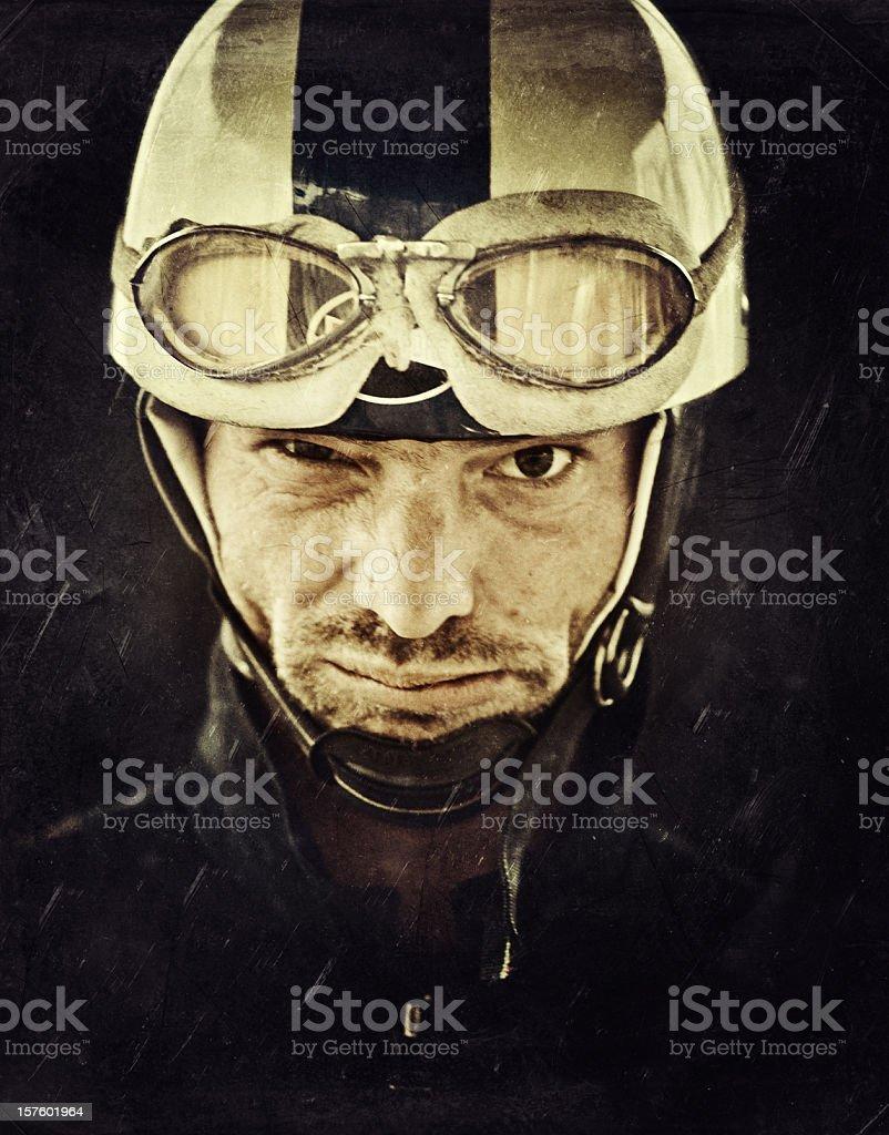 mad motorcyclist with vintage helmet stock photo