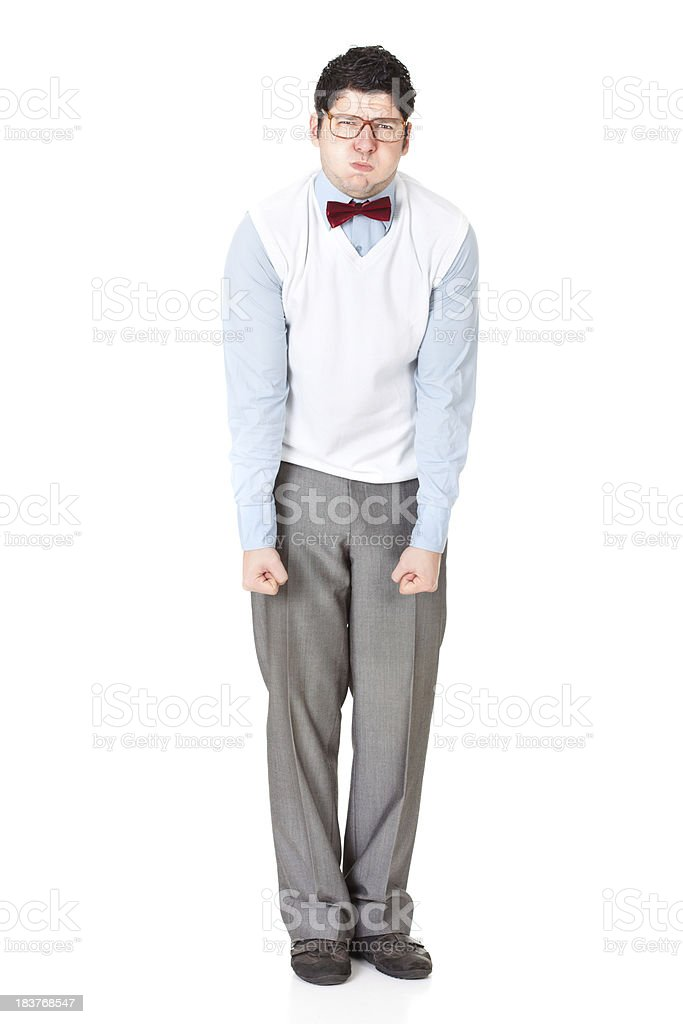 Mad nerdy businessman with inflated cheeks holding clenching fists hard stock photo