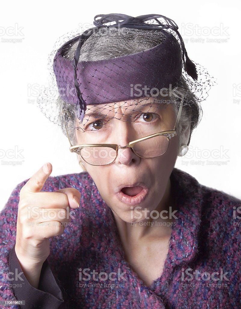 mad old lady stock photo